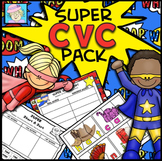 CVC Words Worksheets Cut & Paste Kindergarten | Phonics Worksheets Short Vowels