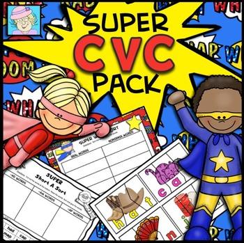 CVC Words Worksheets Cut & Paste Kindergarten | Phonics Worksheets Short Vowels