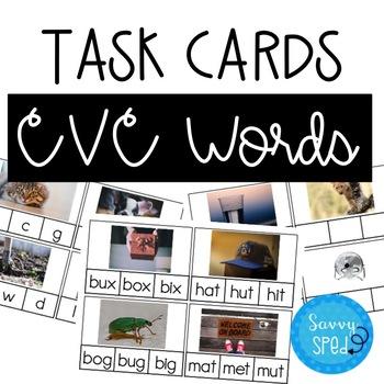 CVC Words Task Cards- 3 Levels