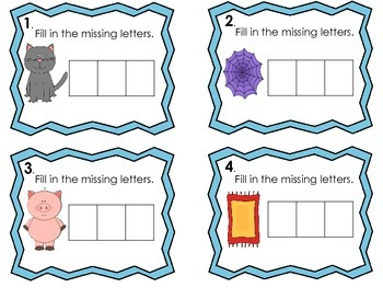 CVC Words Task Cards-Fill in the Missing Letters