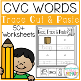 CVC Words Trace Cut and Paste Worksheets