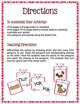 CVC Words - Valentine Bear Match