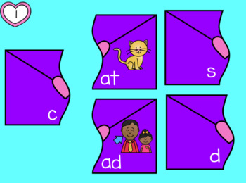 CVC Words Valentine's Day Puzzles Vowel A with Moveable Pieces for Google Drive™