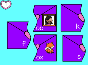 CVC Words Valentine's Day Puzzles Vowel O with Moveable Pieces for Google Drive™