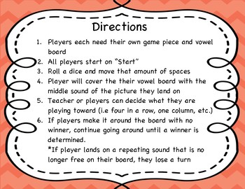 CVC Words Vowel Board Game