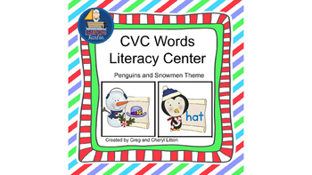 CVC Words With Penguins and Snowmen Literacy Center