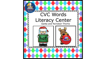 CVC Words With Santa and Reindeer Literacy Center
