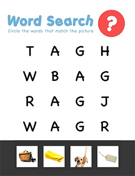 CVC Words - Word Search Game Worksheets