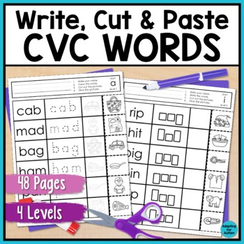 CVC Worksheets: No Prep Write, Cut and Paste Activities by Adapting ...