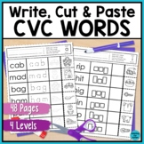 CVC Worksheets: No Prep Write, Cut and Paste Activities