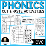 CVC Words Worksheets Phonics Cut and Paste Activities Set 1 Short Vowels