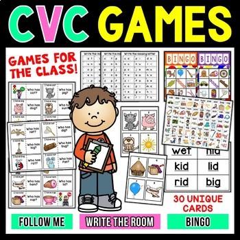 CVC Words Class Games | Bingo | Write The Room | Follow Me
