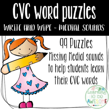 CVC Words - Write and Wipe Literacy Center