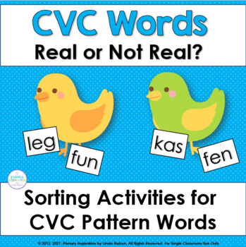 CVC Words: Yes or No? Sorting Cards for CVC Words