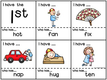 CVC Words (all short vowels) I Have, Who Has Card Game {CCSS aligned}
