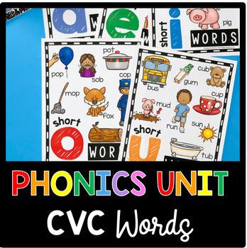 CVC Words and Word Families - Kindergarten Phonics Unit - Centers - Worksheets
