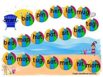 CVC Words at the Beach Board Game