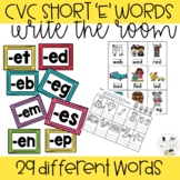 CVC Words for Kindergarten- Short E- Write the Room