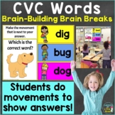 CVC Words with Brain Breaks, Movement for Google Slides, P