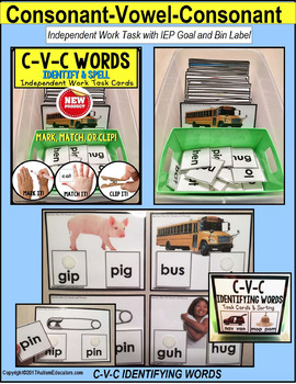"CVC Words with Pictures READING STRATEGY Task Cards ""Task Box Filler"""
