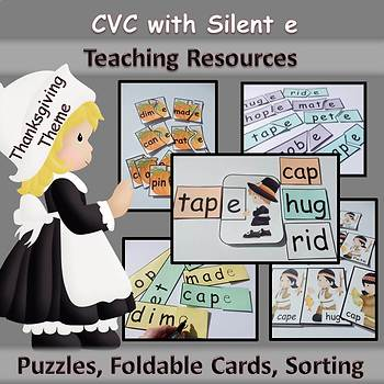 CVC Words with Silent e Teaching Resources - Thanksgiving Theme