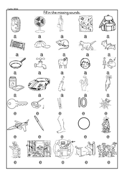 CVC Worksheet Grade 1 Initial and final sounds, only a and e middle sound