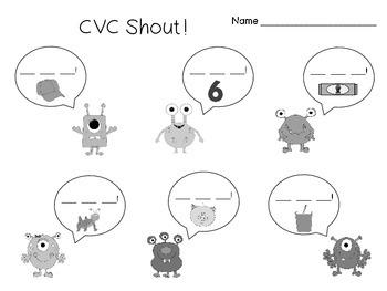 CVC Worksheet- Monster Shout