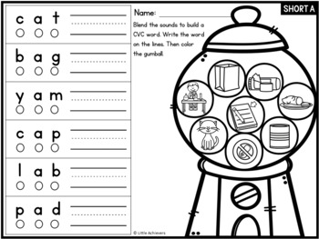 CVC Worksheets - Blend, Write and Color