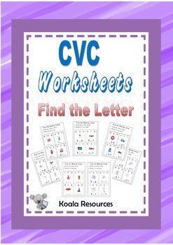 CVC  Worksheets Find The Missing Letter