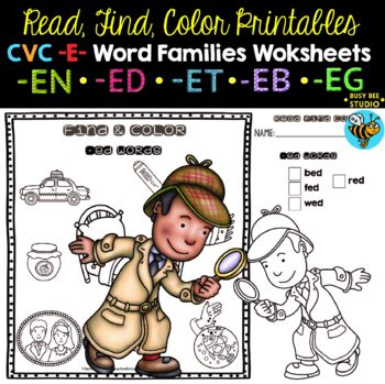 CVC Worksheets | I Spy with my Little Eye ... Short -E- Word Families