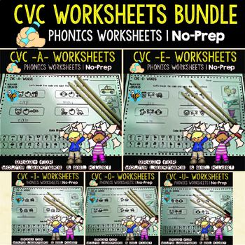 """CVC Worksheets : """"Let's Break the code"""" for Young Learners and ESL Kids"""
