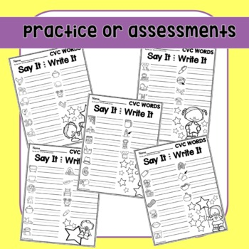 CVC Worksheets Say & Write