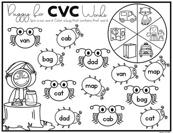 CVC Worksheets: Spin and Color CVC Words