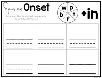 CVC Worksheets: Spin an Onset