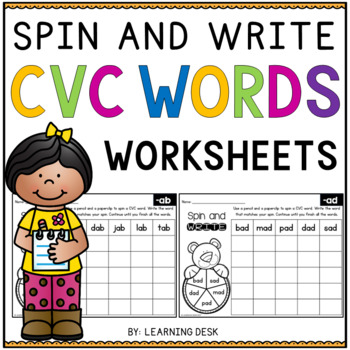 CVC Worksheets - Spin and Write