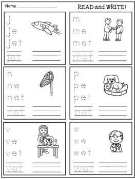 CVC Word Family Worksheets for Homework