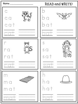 CVC Word Family Worksheets for Independent Practice