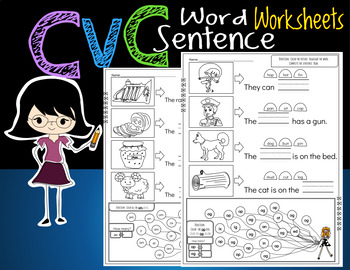 CVC Worksheets simple sentences