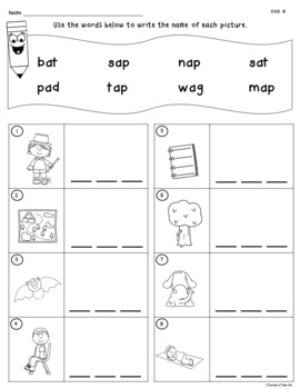 CVC Worksheets to Identify, Read, and Write
