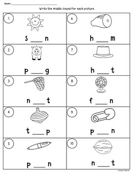 CVC Words Worksheets using Initial, Medial, and Final Sounds