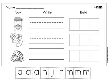 CVC Wprd Family Word Work Freebie