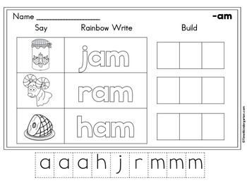 CVC Word Family Word Work Freebie
