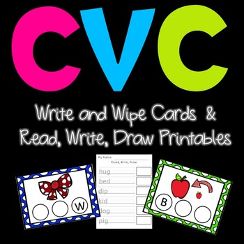 CVC Write and Wipe Literacy Center Cards