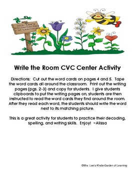CVC Write the Room Activity (short a & i)