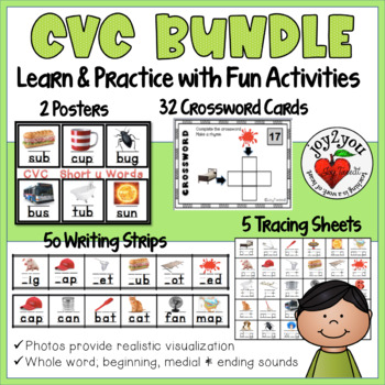 CVC BUNDLE: Writing Strips, Posters, Tracing Sheets and Task Card Puzzles