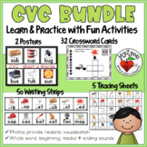 CVC BUNDLE: Writing Strips, Posters, Tracing Sheets, Task Card Puzzles