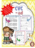 CVC AD WORKSHEETS, STORIES, PUZZLE FLASHCARDS and FLUENCY HELPER
