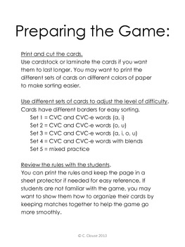 CVC and CVC-e DECODING GO FISH GAME