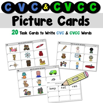 CVC and CVCC Picture Cards for a Writing Center
