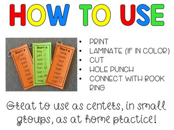 CVC and CVCC Word Fluency Strips